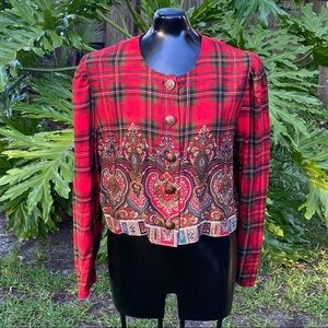 Vintage Red Plaid and Paisley Heart Print Blouse